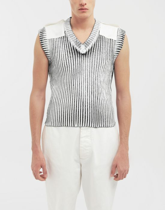 MAISON MARGIELA Laminé wool sleeveless pullover Sleeveless sweater [*** pickupInStoreShippingNotGuaranteed_info ***] r
