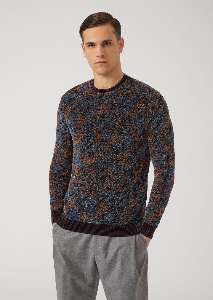 2fa350d13f8c Crew-neck jumper with jacquard pattern   Man   Emporio Armani