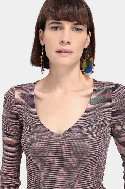 MISSONI V-Neck Mauve Woman - Back