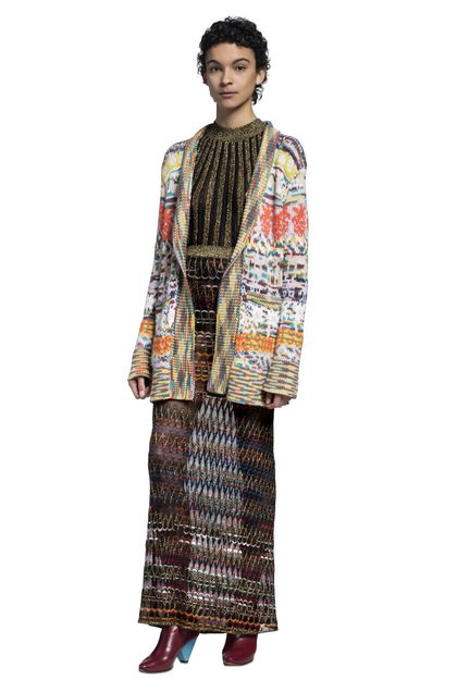 MISSONI Long cardigan Orange Woman - Back