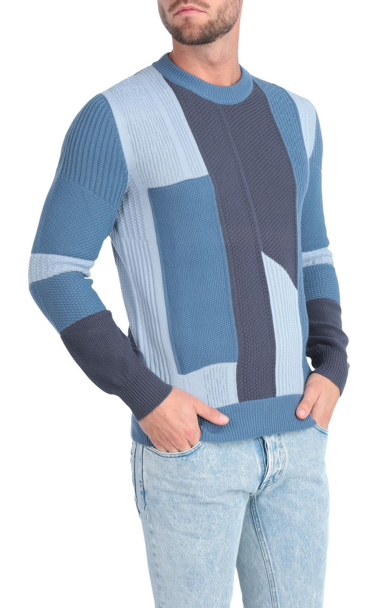 JUST CAVALLI Denim-effect pullover Crewneck sweater Man f