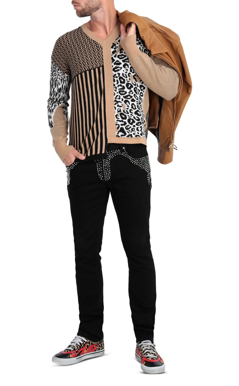 JUST CAVALLI Pullover with leopard-print patch V-neck Man d