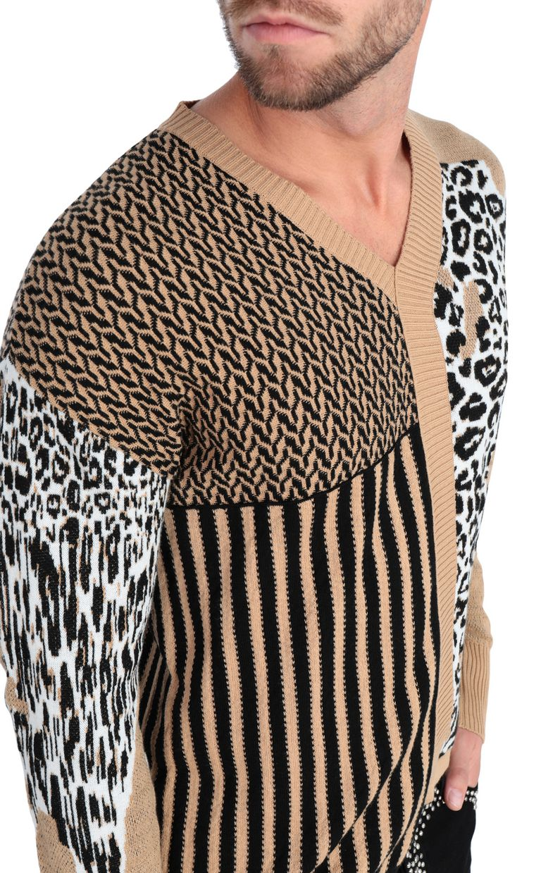 JUST CAVALLI Pullover with leopard-print patch V-neck Man e