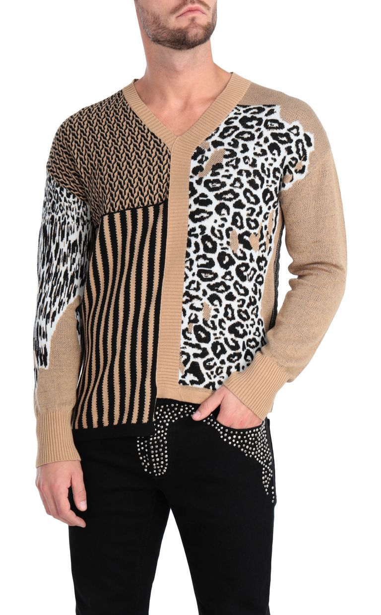 JUST CAVALLI Pullover with leopard-print patch V-neck Man f