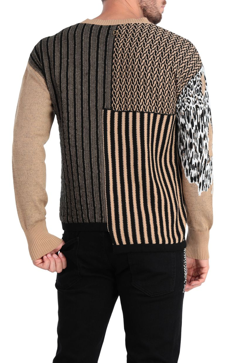 JUST CAVALLI Pullover with leopard-print patch V-neck Man r