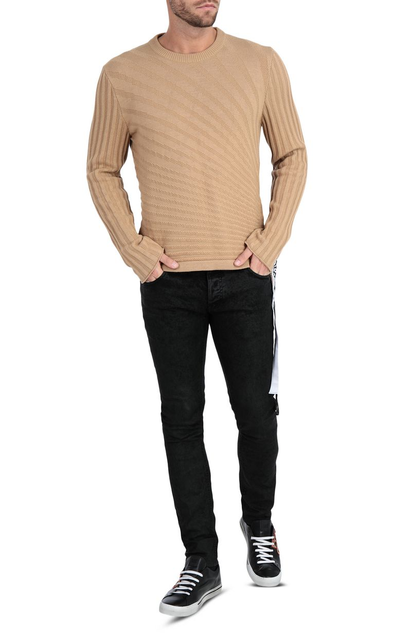 JUST CAVALLI Pullover with animal-print band Crewneck sweater Man d