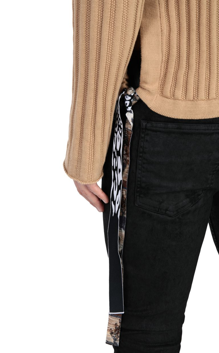 JUST CAVALLI Pullover with animal-print band Crewneck sweater Man e