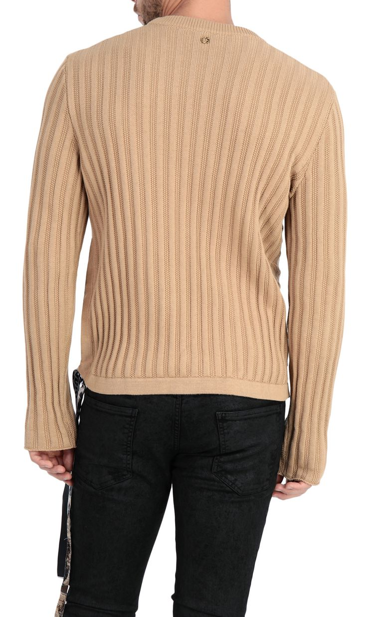 JUST CAVALLI Pullover with animal-print band Crewneck sweater Man r