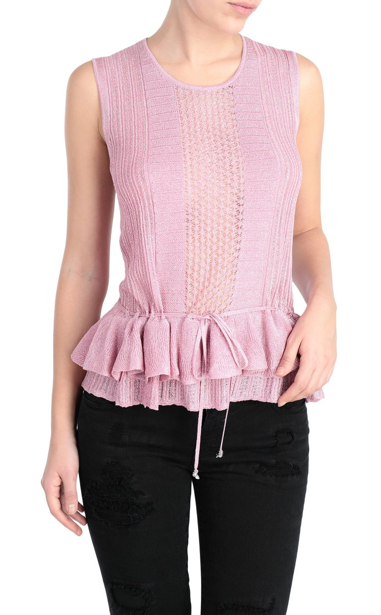 JUST CAVALLI Tank top in a lurex knit Sleeveless sweater Woman f