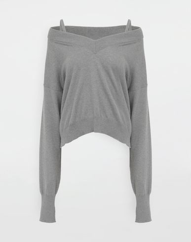 SWEATERS NewBasic jersey knit pullover Grey