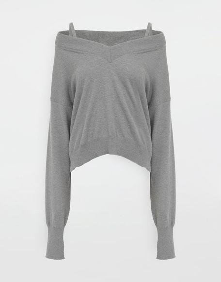 MAISON MARGIELA NewBasic Pullover aus Jerseystrick Pullover mit V-Ausschnitt Dame f
