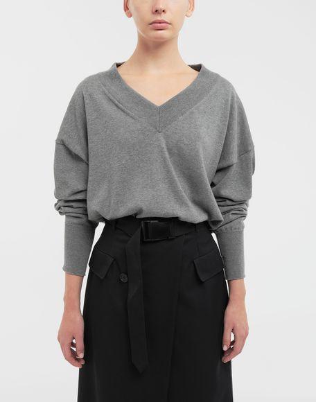 MAISON MARGIELA NewBasic Pullover aus Jerseystrick Pullover mit V-Ausschnitt Dame r