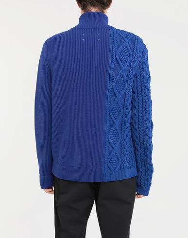 SWEATERS Spliced zip-up ribbed sweater