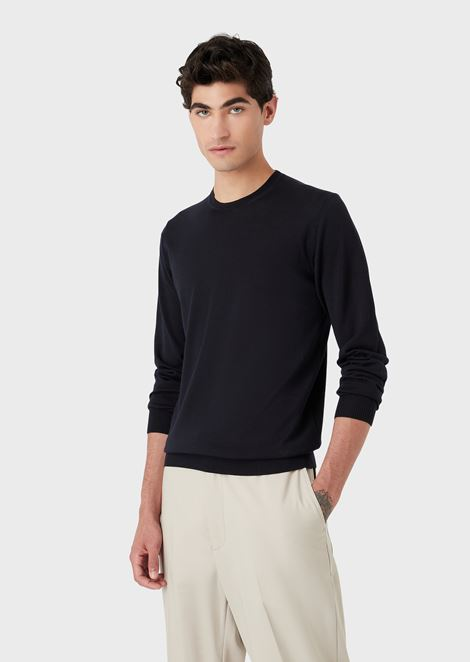 Crew neck sweater in pure virgin wool