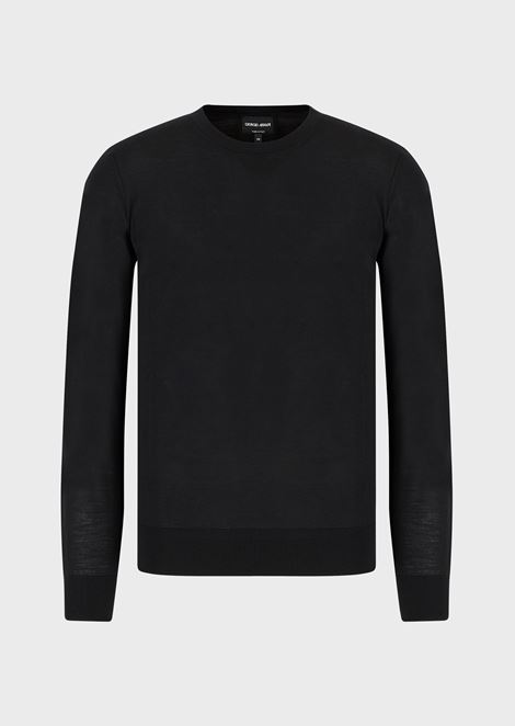 Pure wool crew neck pullover