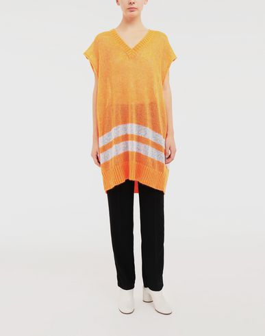 SWEATERS Dress in fluo mohair with stripes