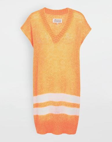 MAISON MARGIELA Neon stripe mohair knit tunic Sleeveless sweater [*** pickupInStoreShipping_info ***] f