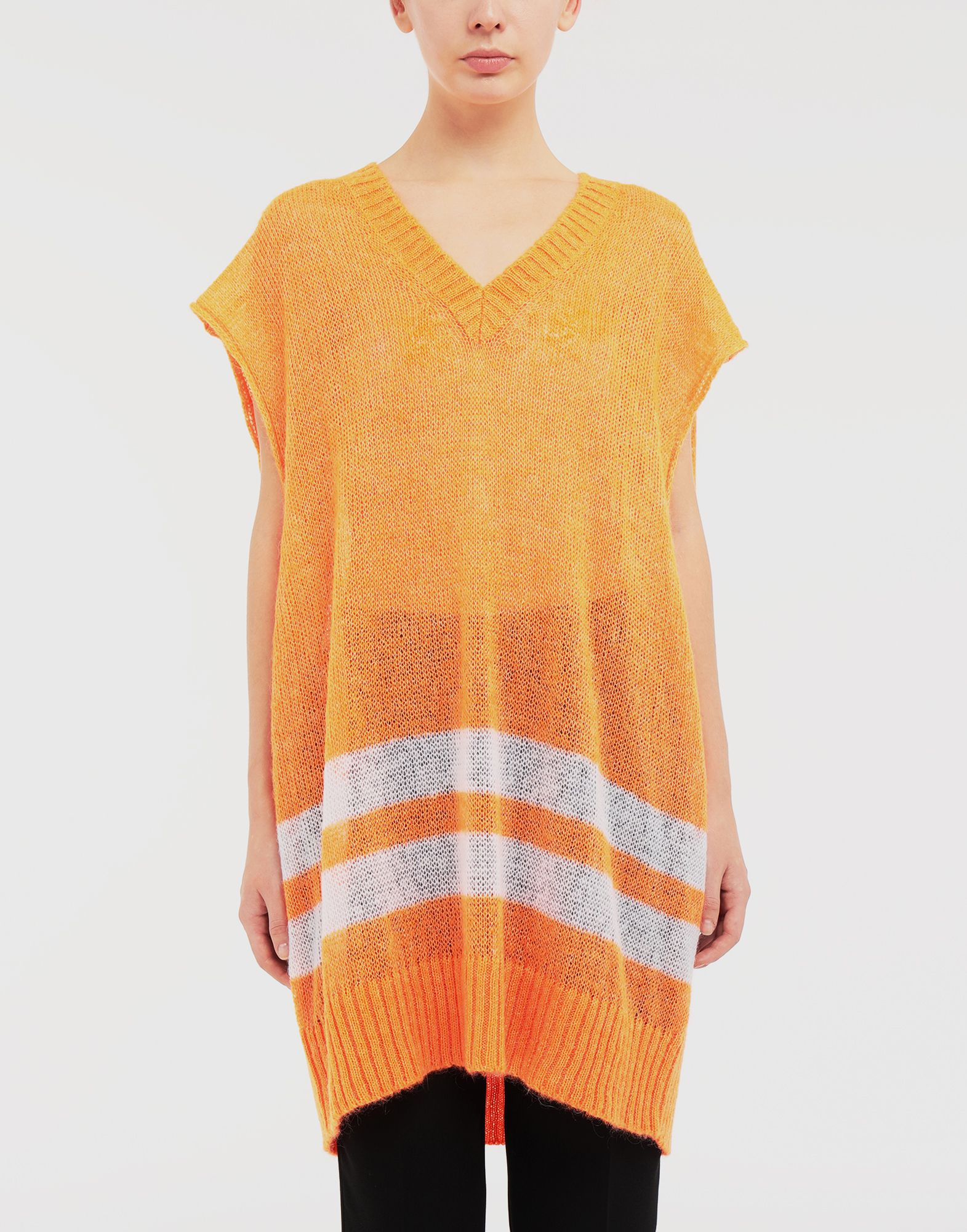 MAISON MARGIELA Dress in fluo mohair with stripes Sleeveless sweater Woman r