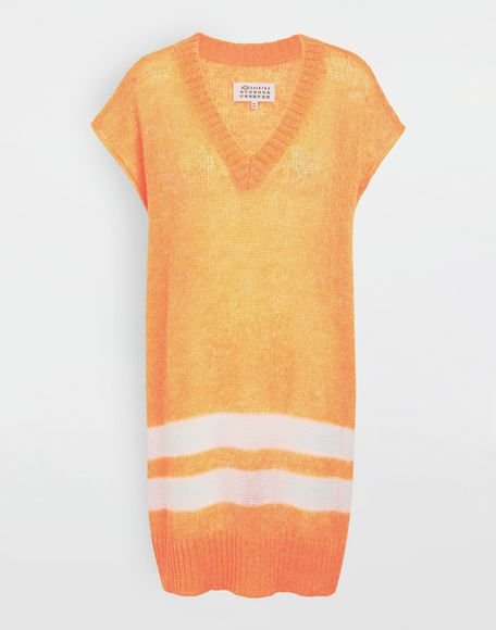 MAISON MARGIELA Dress in fluo mohair with stripes Sleeveless sweater Woman f
