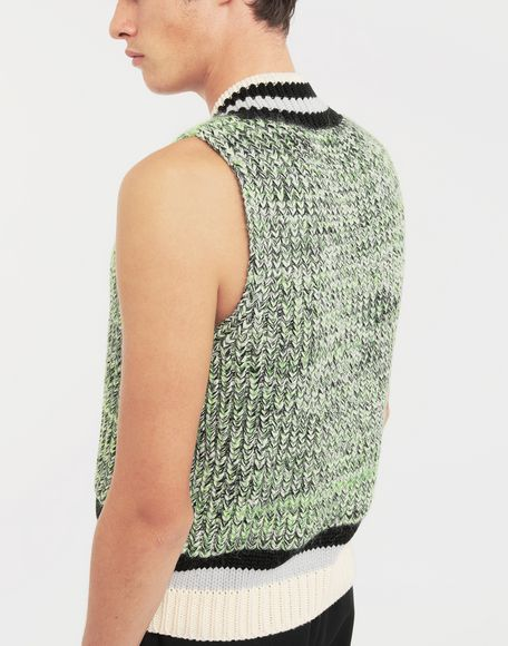 MAISON MARGIELA Sleeveless wide knit pullover V-neck sweater Man b