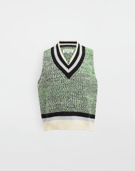 MAISON MARGIELA Sleeveless wide knit pullover V-neck sweater Man f