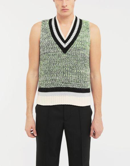 MAISON MARGIELA Sleeveless wide knit pullover V-neck sweater Man r