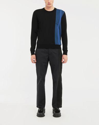 SWEATERS Spliced wool knit pullover