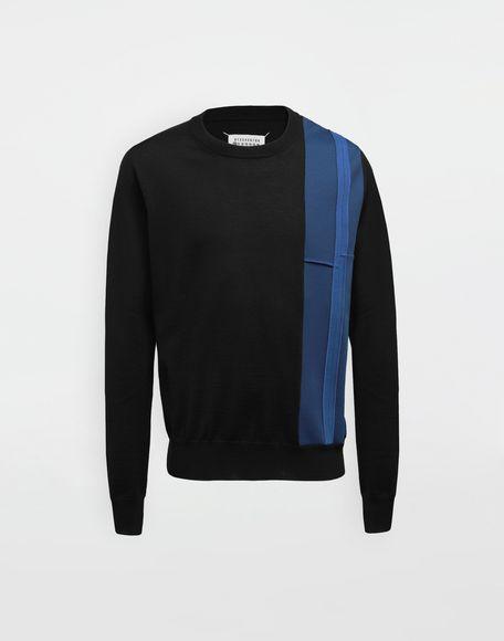 MAISON MARGIELA Spliced wool knit pullover Long sleeve sweater Man f