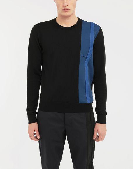 MAISON MARGIELA Spliced wool knit pullover Long sleeve sweater Man r