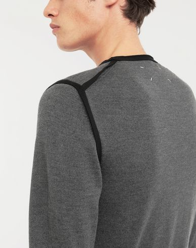 KNITWEAR Cotton-trimmed knit jersey pullover Steel grey