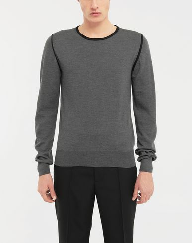 SWEATERS Cotton-trimmed knit jersey pullover Steel grey