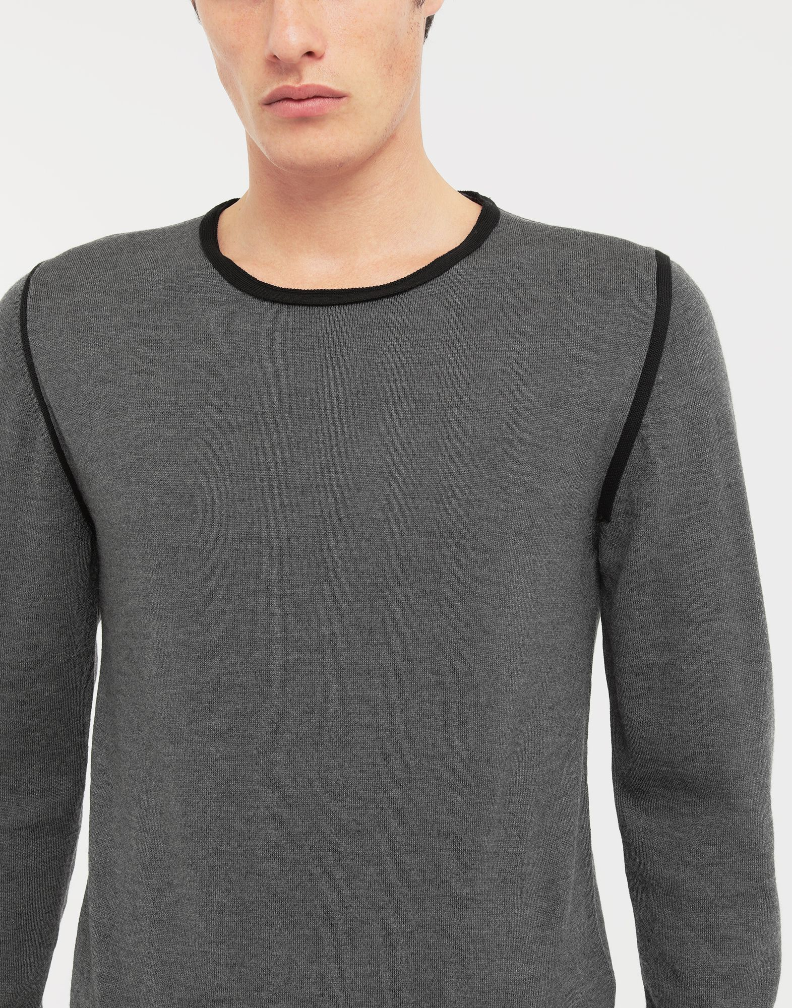 MAISON MARGIELA Cotton-trimmed knit jersey pullover Crewneck sweater Man a