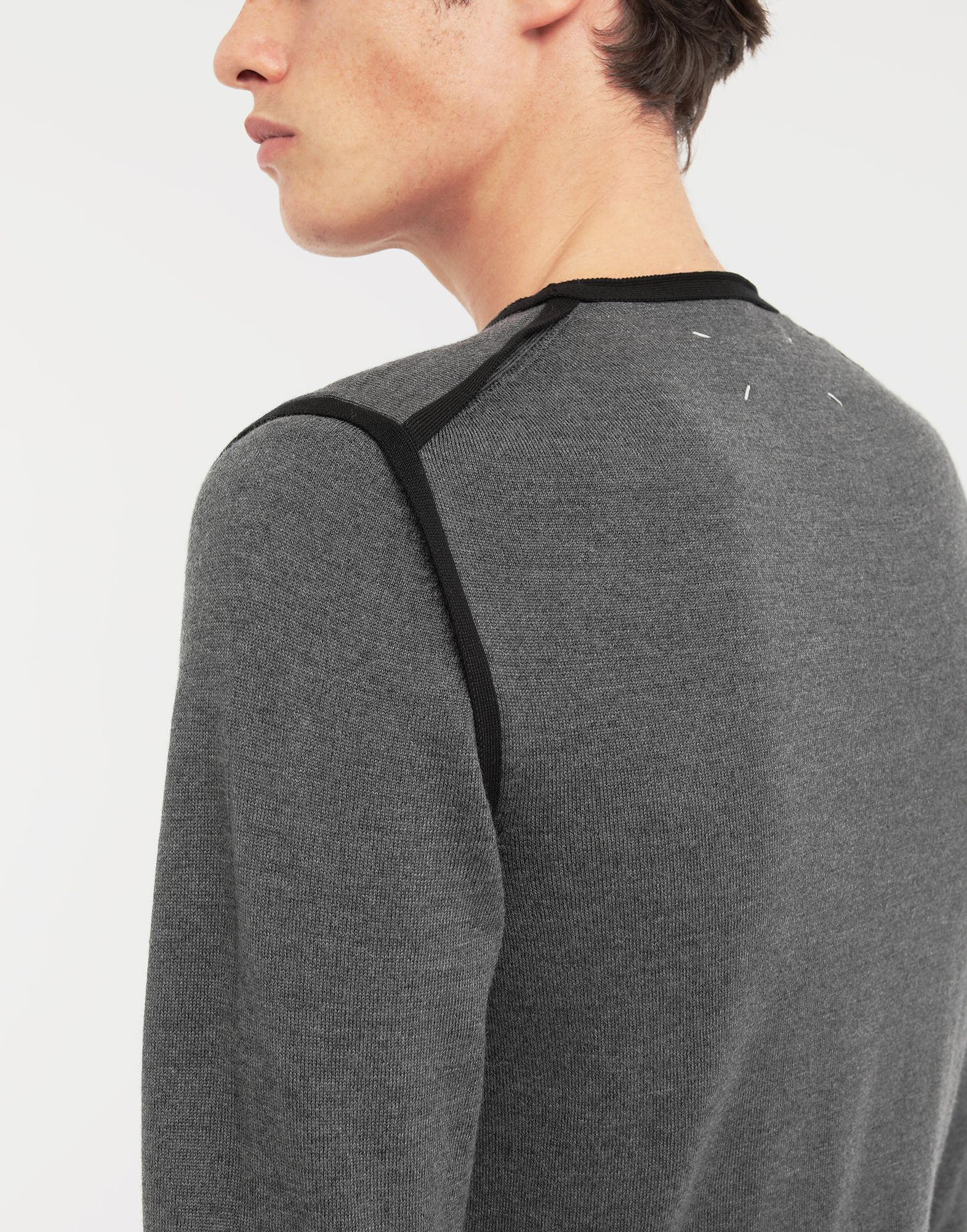 MAISON MARGIELA Cotton-trimmed knit jersey pullover Crewneck sweater Man b