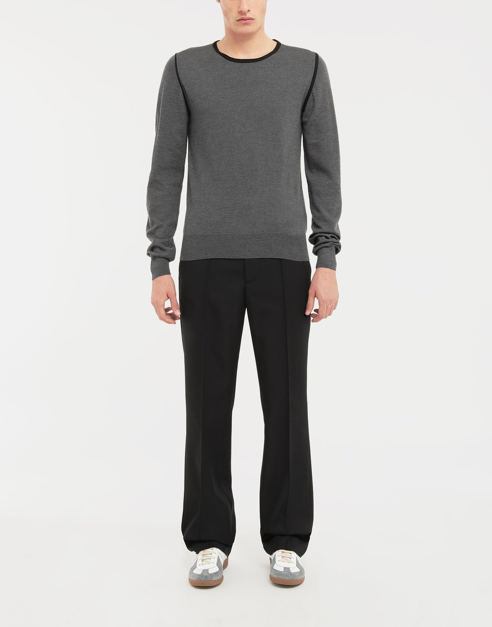 MAISON MARGIELA Cotton-trimmed knit jersey pullover Crewneck sweater Man d