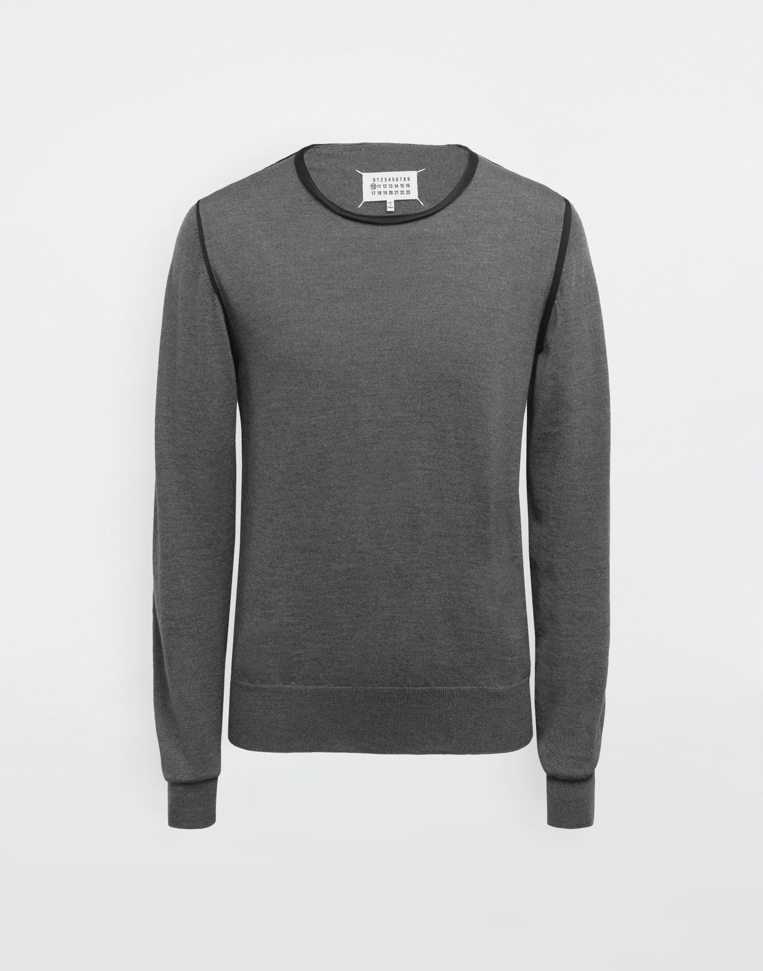 MAISON MARGIELA Cotton-trimmed knit jersey pullover Long sleeve jumper Man f