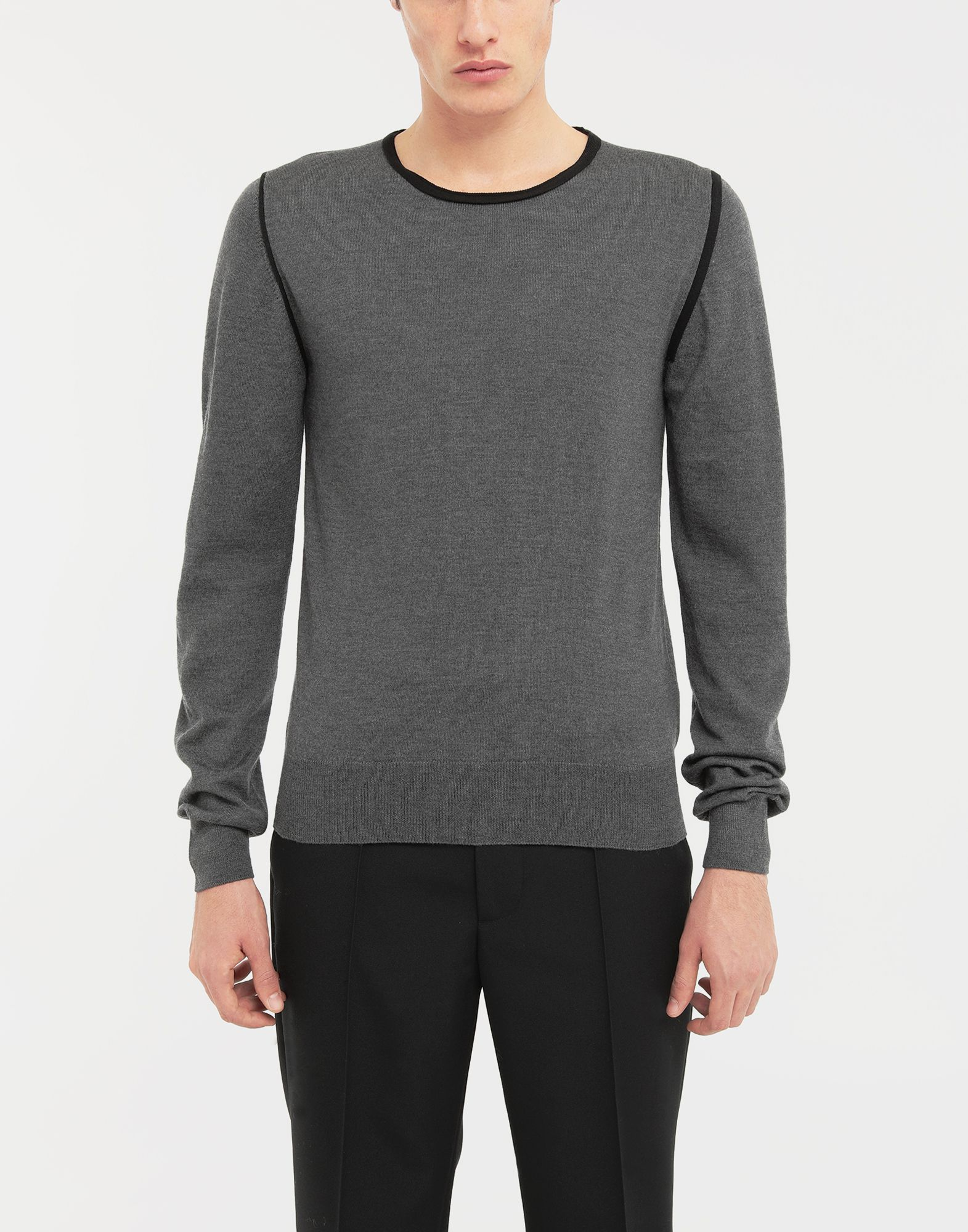 MAISON MARGIELA Cotton-trimmed knit jersey pullover Crewneck sweater Man r