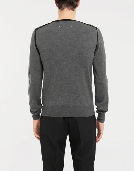 MAISON MARGIELA Cotton-trimmed knit jersey pullover Crewneck sweater Man e