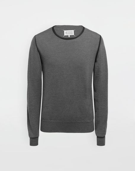 MAISON MARGIELA Cotton-trimmed knit jersey pullover Crewneck sweater Man f