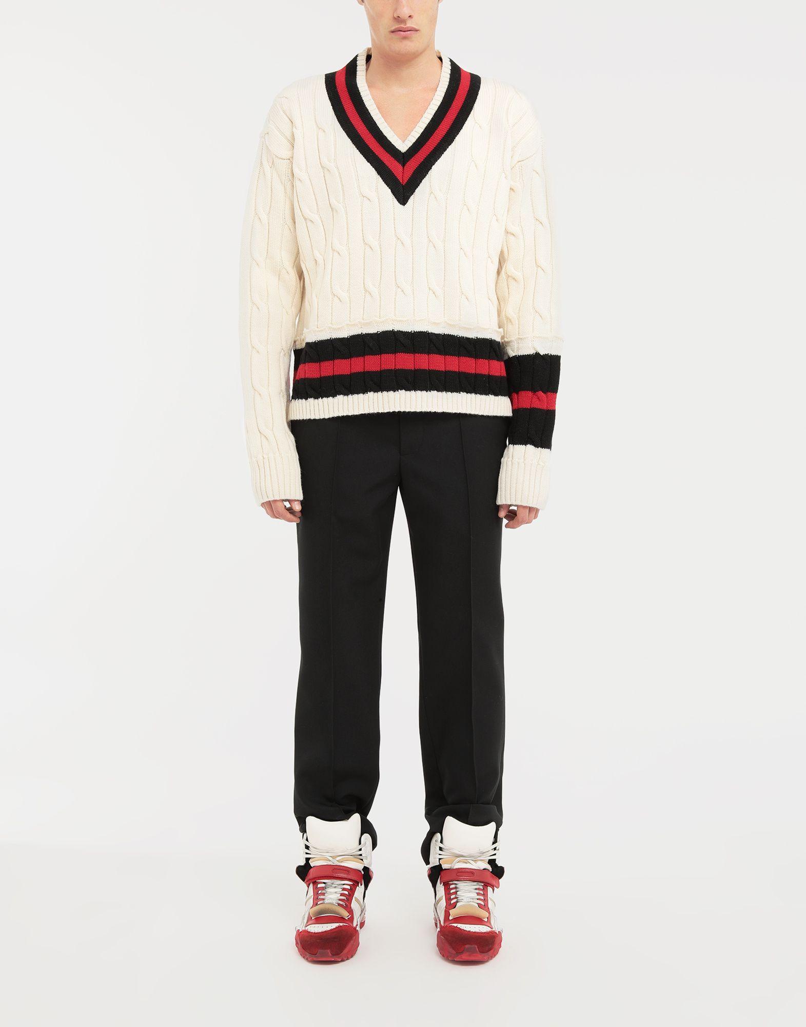 MAISON MARGIELA Oversized Décortiqué wool knit pullover V-neck Man d