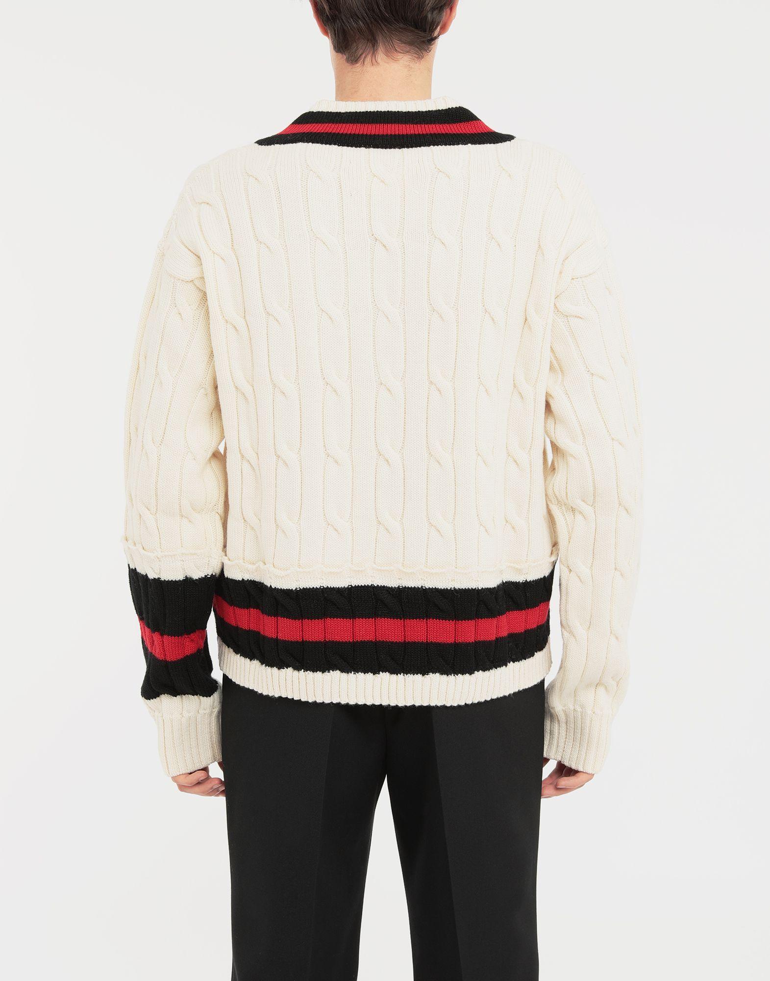 MAISON MARGIELA Oversized Décortiqué wool knit pullover V-neck Man e