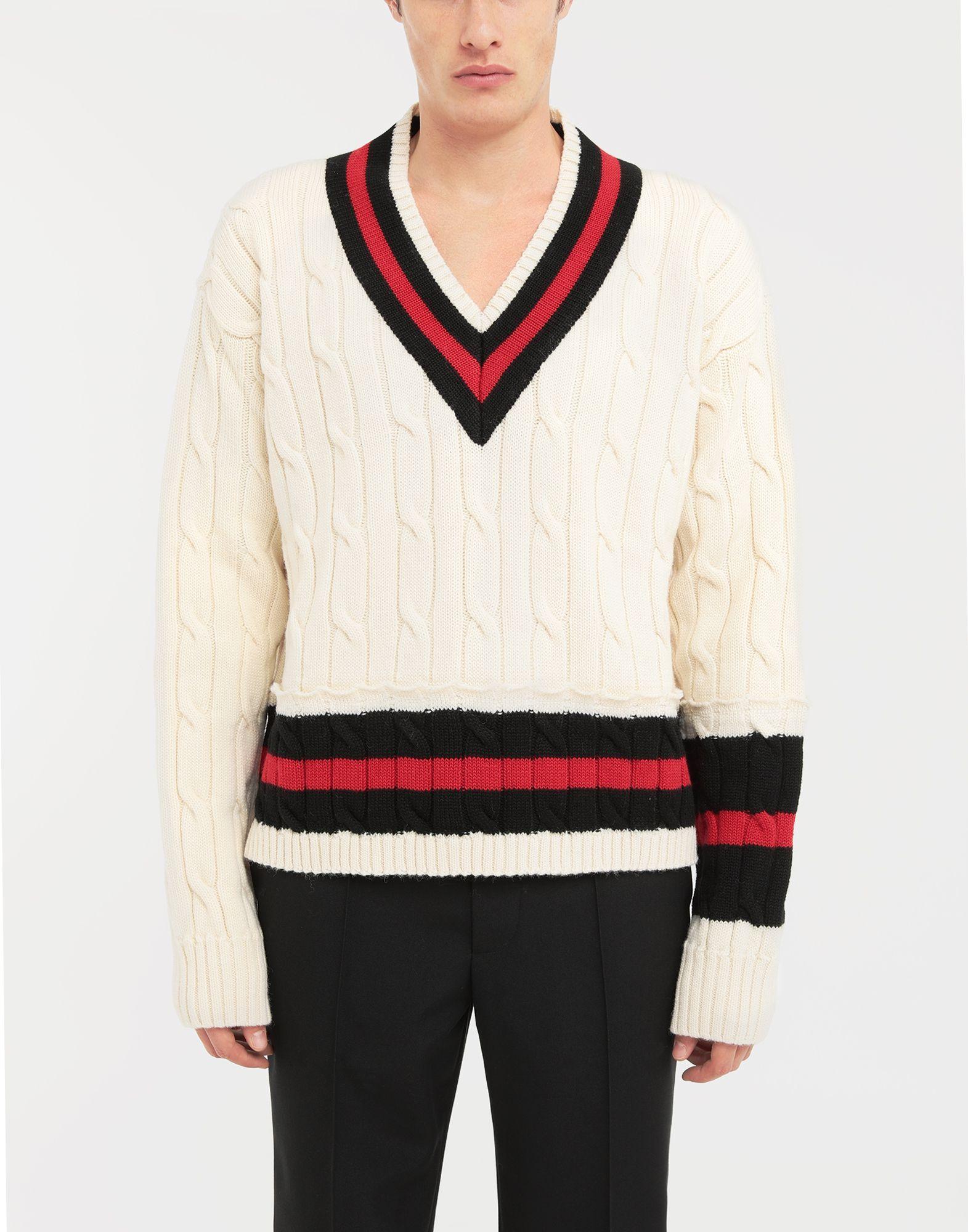 MAISON MARGIELA Oversized Décortiqué wool knit pullover V-neck Man r