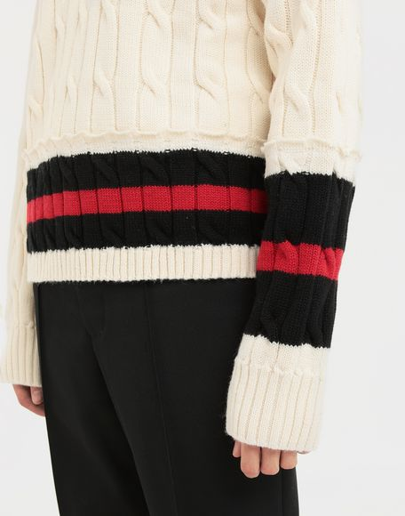 MAISON MARGIELA Oversized Décortiqué wool knit pullover V-neck Man a