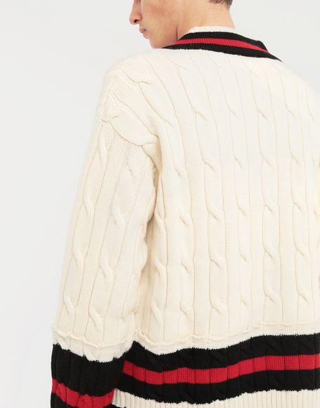 MAISON MARGIELA Oversized Décortiqué wool knit pullover V-neck Man b