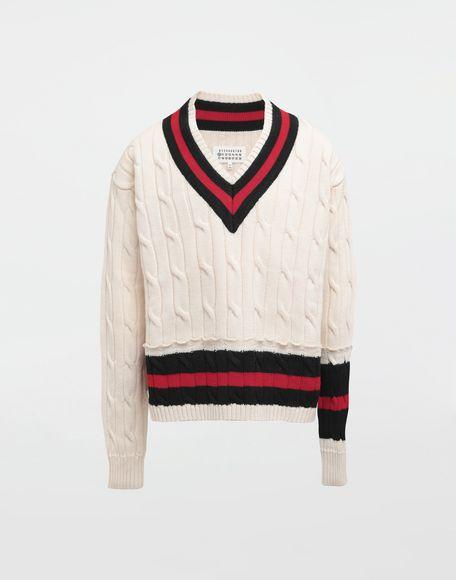 MAISON MARGIELA Oversized Décortiqué wool knit pullover V-neck Man f
