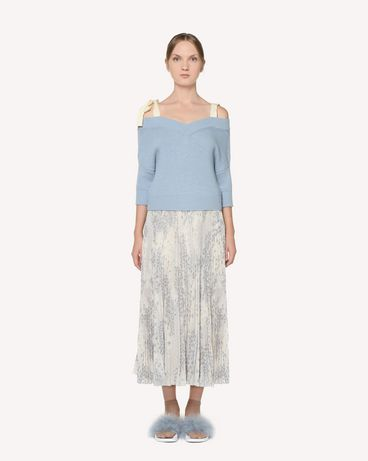 REDValentino Off-the-shoulder cropped wool sweater