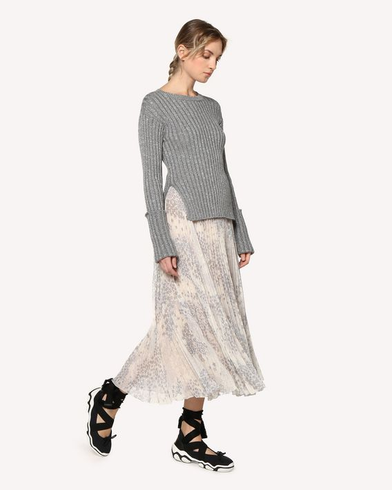 REDValentino Cotton lurex jumper with slits
