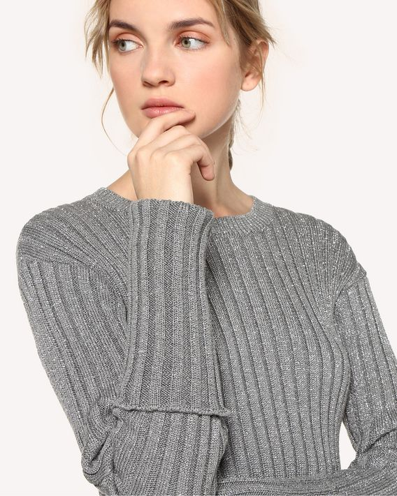 REDValentino Cotton lurex sweater with slits