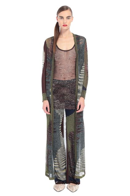 MISSONI Long cardigan Green Woman - Back