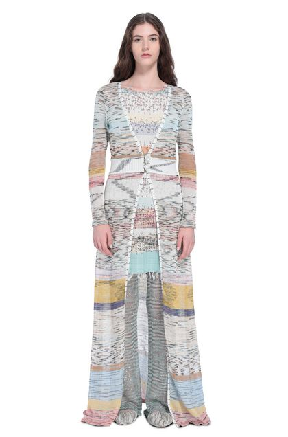 MISSONI Long cardigan Beige Woman - Back