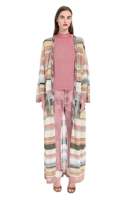 MISSONI Long cardigan Pastel pink Woman - Back